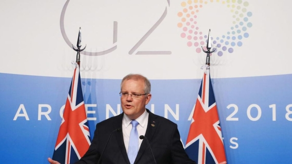 Australian Prime Minister Scott Morrison at the 2018 G20 Summit in Argentina.