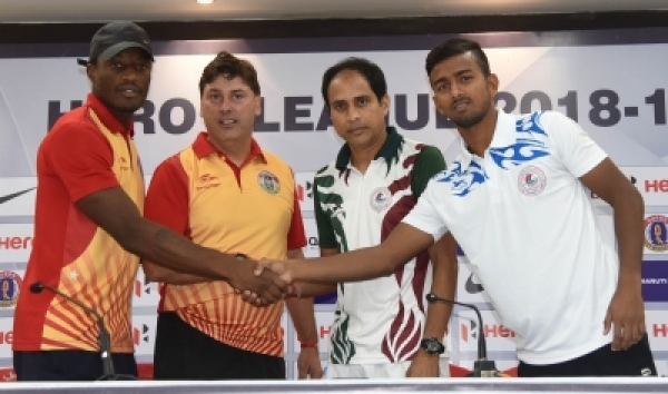 File picture of East Bengal FC player Kassim Aidara and coach Alejandro Menendez with Mohun Bagan AC former coach Sankarlal Chakraborty and player Azharuddin Mallick.