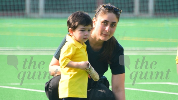 Kareena Kapoor with Taimur Ali Khan on his school sport's day.