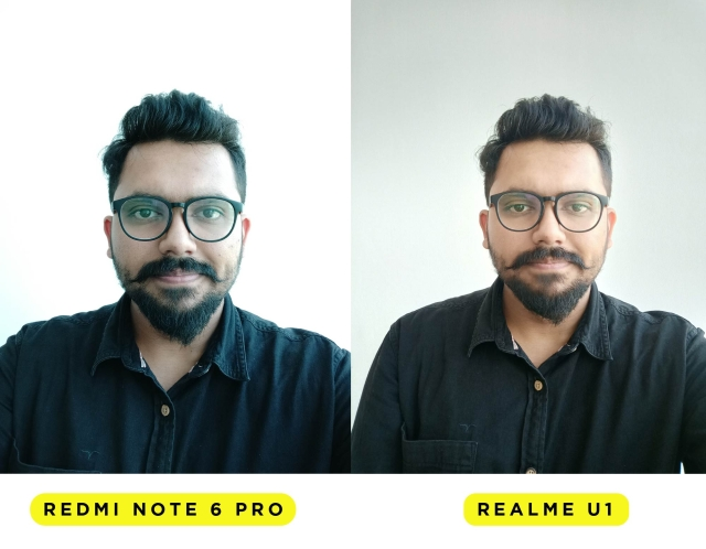 Realme U1 gives natural colours and a high resolution selfie while the Redmi Note 6 Pro has a visible blue tint on it. The natural colours are lacking in the Note 6 Pro selfie.