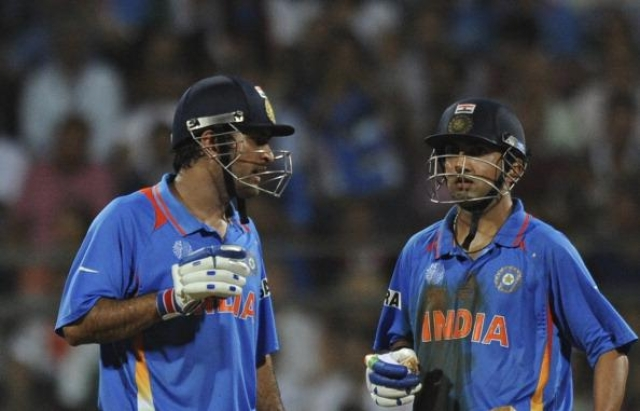 Gautam Gambhir and MS Dhoni, pictured here during the 2011 WC final, were believed to have had a strained equation.
