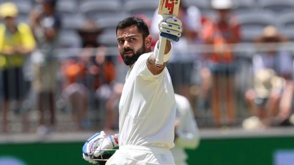 Indian skipper Virat Kohli celebrates his 25th Test century against Australia in Perth.