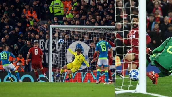 Alisson's stoppage-time save (left) and Salah's first-half winner – the defining moments from Liverpool's win over Napoli at Anfield.