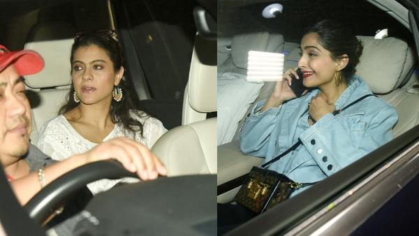 Kajol and Sonam Kapoor drive in for Rani Mukerji's daughter's birthday party.
