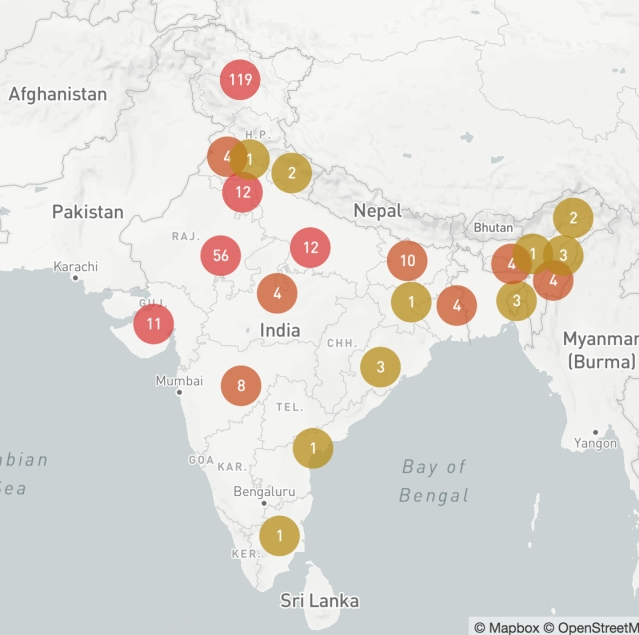 A tracker displaying the state-wise break up on internet shutdowns in India since 2012.