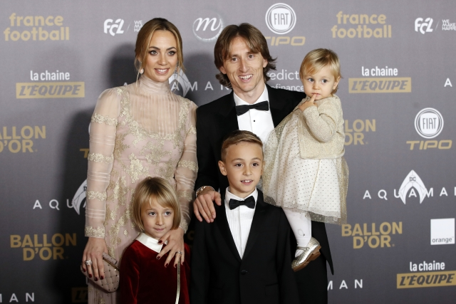 "Real Madrid's Luka Modric arrives with his family for the Golden Ball, ""Ballon d'Or"" award ceremony at the Grand Palais in Paris."
