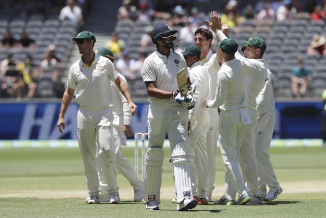 Ishant Sharma walks away after getting dismissed in the second innings of the second Test.