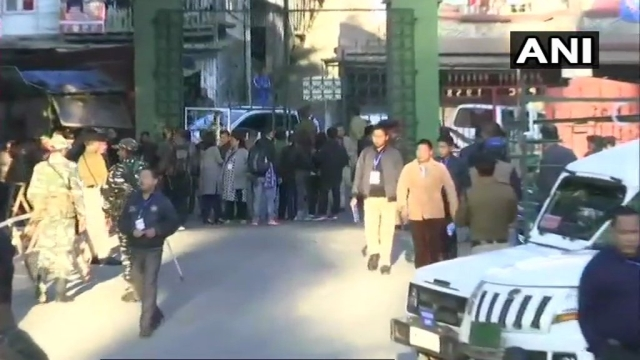 Visuals from outside a counting centre in Aizawl.