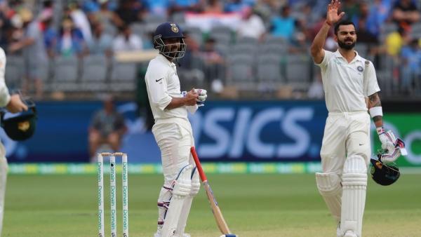 Ajinkya Rahane (left) and Virat Kohli brought up half-centuries on Day 2 of India's second Test vs Australia at Perth.