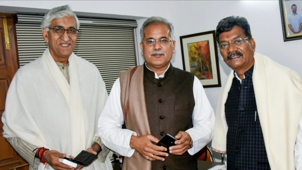 Senior leaders of Congress party's Chhattisgarh unit, from left, TS Singh Deo, Bhupesh Baghel and Charan Das Mahant in Delhi before the announcement of the Chief Minister for the state.