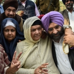 (Left to Right): DSGMC President Manjit Singh GK, Nirpreet Kaur and Jagdish Kaur, whose family members were killed during 1984 anti-Sikh riots, Akali Dal MLA Manjinder Singh Sirsa.
