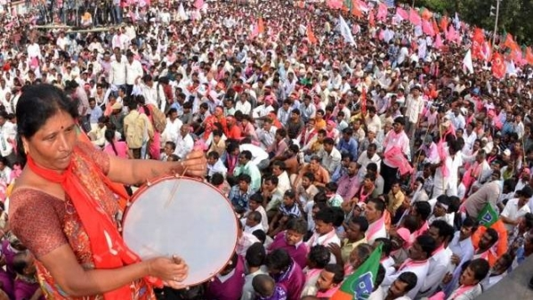 A file photo of the protests for Telangana state