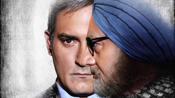 Anupam Kher as former Prime Minister Manmohan Singh and Akshaye Khanna as Sanjaya Baru in a poster of <i>The Accidental Prime Minister</i>.