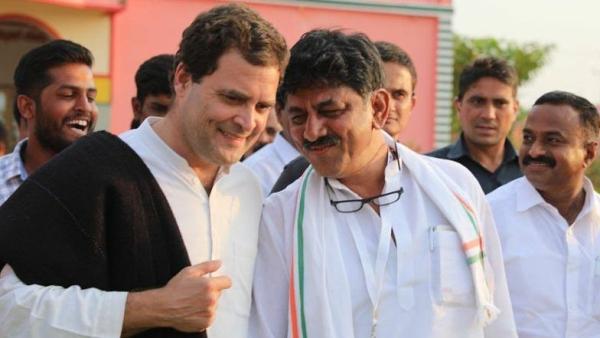 DK Shivakumar with Rahul Gandhi.