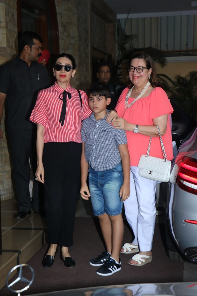 Karisma Kapoor, her son Kiaan and her mom Babita.
