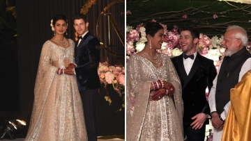 Priyanka Chopra, Nick Jonas and Narendra Modi.