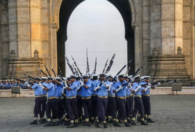 Indian Navy personnel rehearse ahead of the Navy Day Celebration, at Gateway of India, in Mumbai, on 28 November 2018.