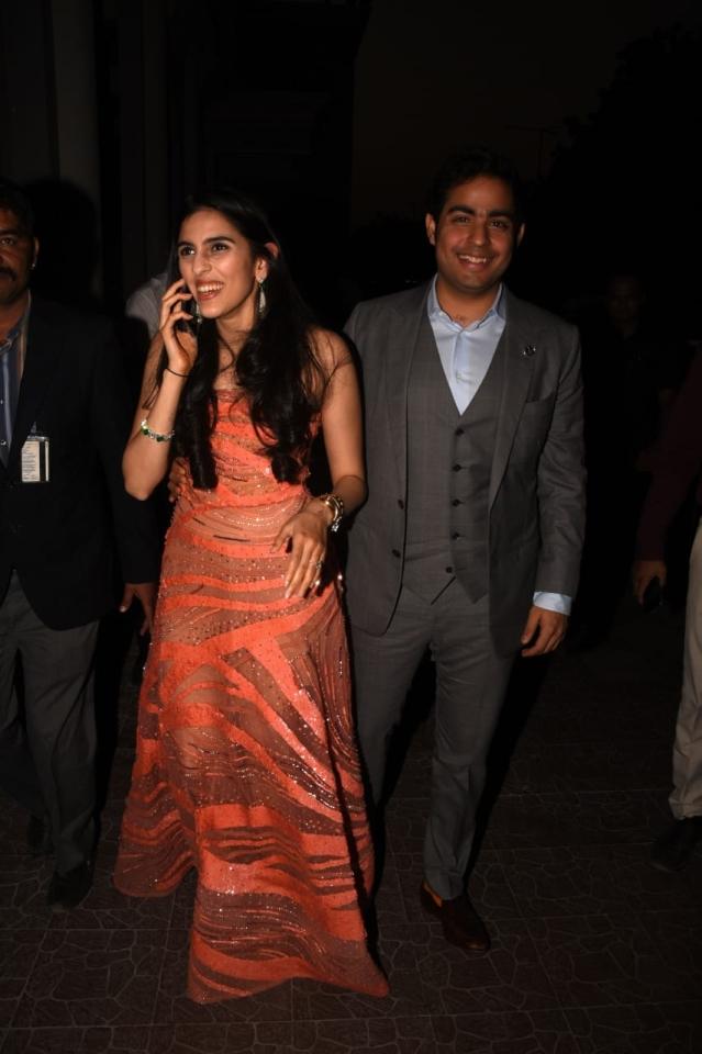 Akash Ambani and Shloka Mehta were also spotted at the airport.