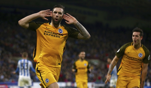 Brighton & Hove Albion's Shane Duffy celebrates scoring his side's first goal of the game during the English Premier League soccer match.