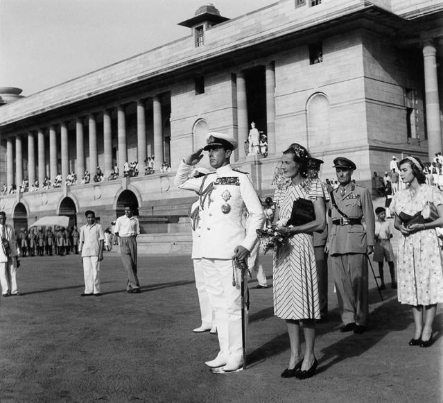 Lord Mountbatten taking the salute at the Guard of Honour, Rashtrapati Bhawan, when leaving office as Governor-General in June, 1948