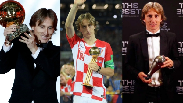Luka Modric won the Ballon d'Or, The Golden Ball at the World Cup and The FIFA Player of the Year in 2018