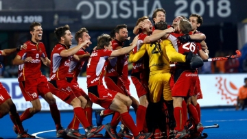 Belgium players celebrate after winning the country's maiden world title by defeating Netherlands in the final of the 2018 FIH Men's Hockey World Cup.