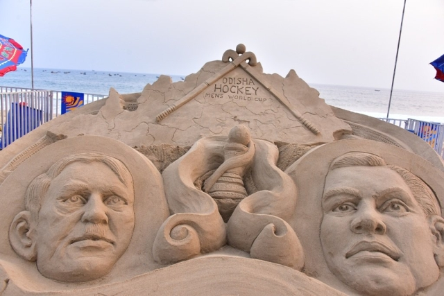 A sand sculpture for the men's hockey world cup, going on in Bhubaneswar.