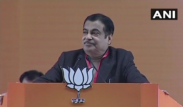 Union Minister Nitin Gadkari addresses the gathering on the second day of the BJP National Executive meet.
