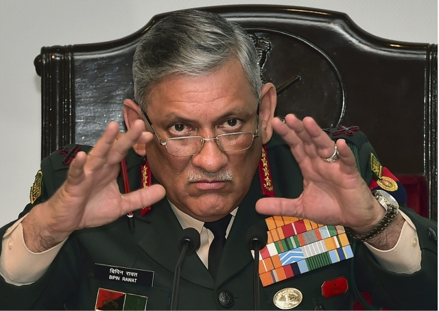 Army chief Bipin Rawat addresses a press conference ahead of Army Day, in New Delhi, Thursday, 10 January 2019.
