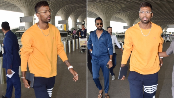 Hardik Pandya spotted at the Mumbai airport in his first public appearance since the 'Koffee With Karan' controversy.