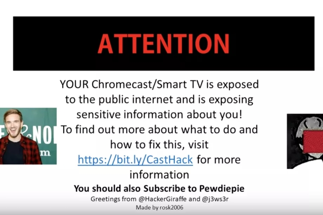 Hackers post 'subscribe to PewDiePie message on Smart TVs.