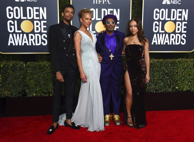 Spike Lee (second right), and from left, son Jackson Lee, wife Tonya Lewis Lee and daughter Satchel Lee arrive at the 76th annual Golden Globe Awards.
