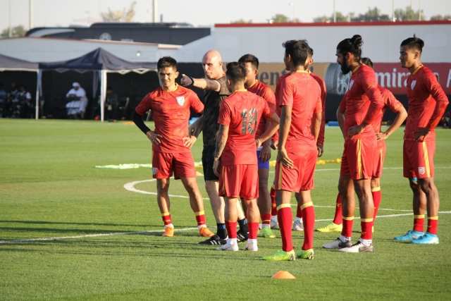 The Indian football team at a practice session.