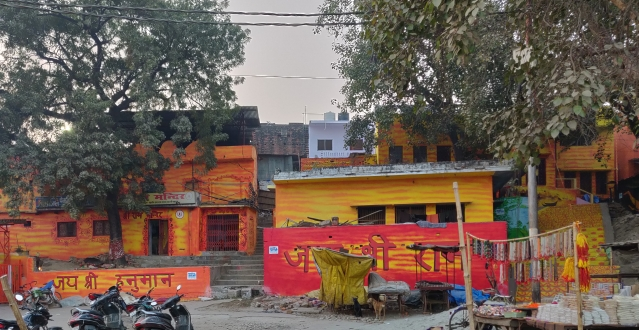 Jai Shree Ram and Jai Shree Hanuman painted over the walls.