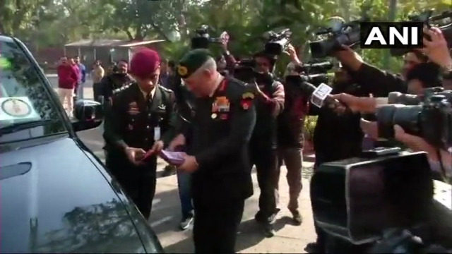 Army Chief Bipin Rawat arrives in Parliament.