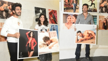 Kartik Aaryan, Sunny Leone and Tiger Shroff at the Dabboo Ratnani calendar launch in Mumbai.