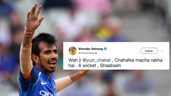Former India cricketer Virender Sehwag lauded Chahal's performance in the third ODI against Australia.