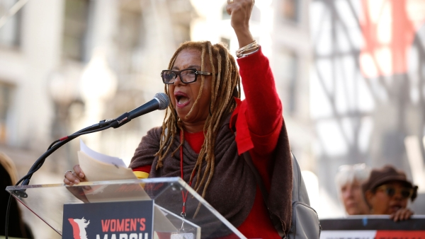 Activist Margaret Prescod, radio host and producer, speaks at Pershing Square during the 3rd Women's March in Los Angeles.