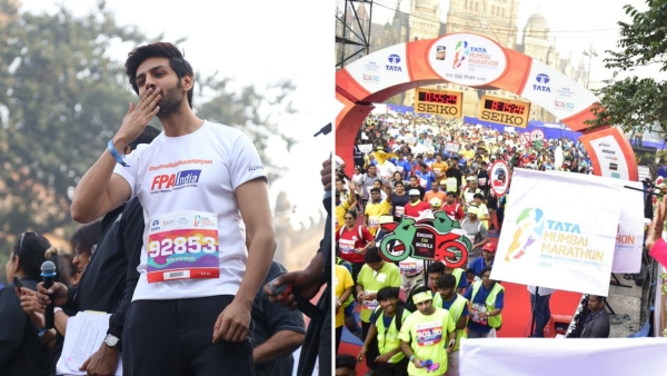 Kartik Aaryan cheers for the participants; The Tata Mumbai Marathon 2019 in full swing.
