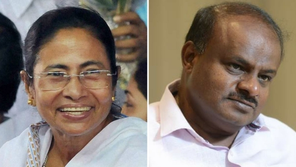 File photo of Mamata Banerjee and HD Kumaraswamy.