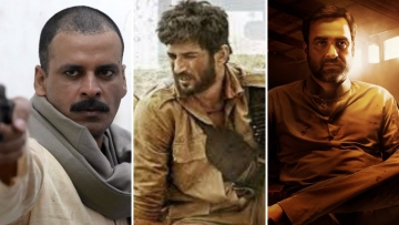 Stills from <i>Gangs of Wasseypur</i>, <i>Sonchiriya</i> and <i>Mirzapur</i>.