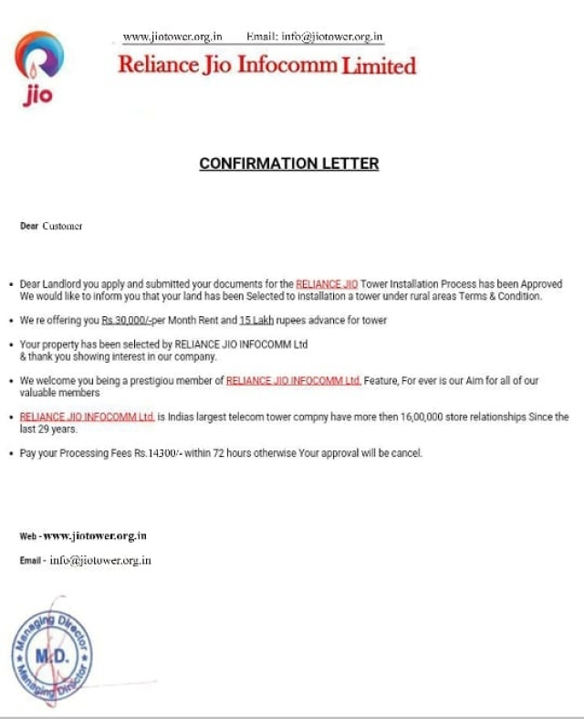 A fraudulent Jio confirmation letter submitted to WebQoof by a reader.