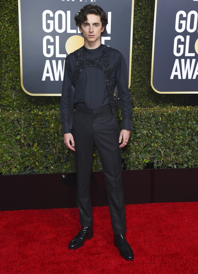 Timothee Chalamet arrives at the 76th annual Golden Globe Awards.