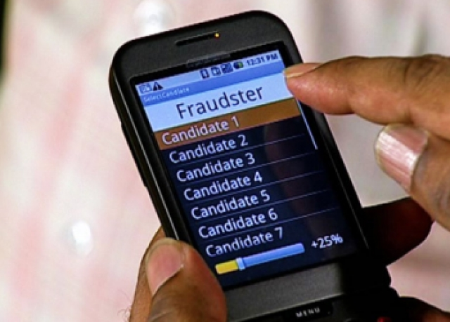 An application running on an Android mobile phone uses Bluetooth to tell our dishonest display which candidate should receive stolen votes