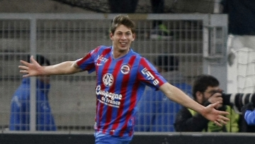 File picture of Emiliano Sala celebrating a goal during a League One soccer match between Marseille and Caen in 2015. The French civil aviation authority said that Sala was aboard a small passenger plane that went missing off the coast of the island of Guernsey.