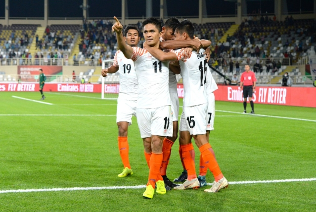 Star striker Sunil Chhetri extended his goal-scoring riches in a rare-found victory for the Indian football team. Chhetri bagged a brace as India beat Thailand 4-1 in their AFC Asian Cup 2019 opener in Abu Dhabi – India's first win in the competition since 1964. The twin goals also saw the 34-year-old overtake Lionel Messi as the second-highest goal-scorer in international football among active players with 67 goals, behind only Cristiano Ronaldo.