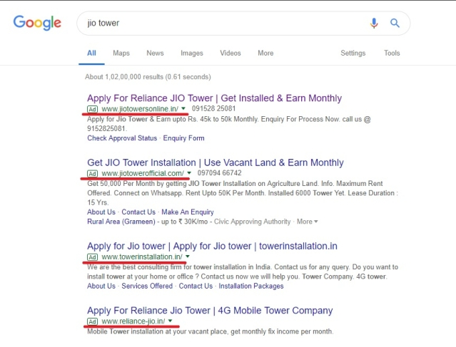 "A Google search ""Jio tower"" returns a litany of fraudulent websites, the first four of which are ads."