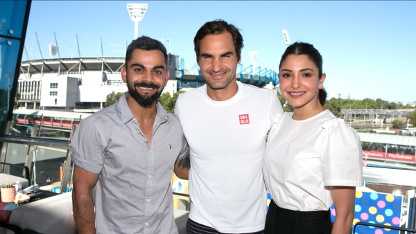 Indian cricket captain Virat Kohli and wife Anushka Sharma photographed with Roger Federer on Day 6 of the Australian Open 2019.