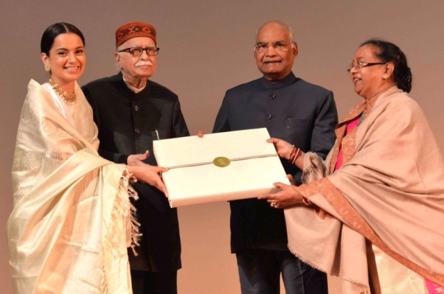 President Kovind along with his wife Savita Kovind and LK Advani felicitating Kangana Ranaut after the screening of <i>Manikarnika: The Queen of Jhansi. </i>
