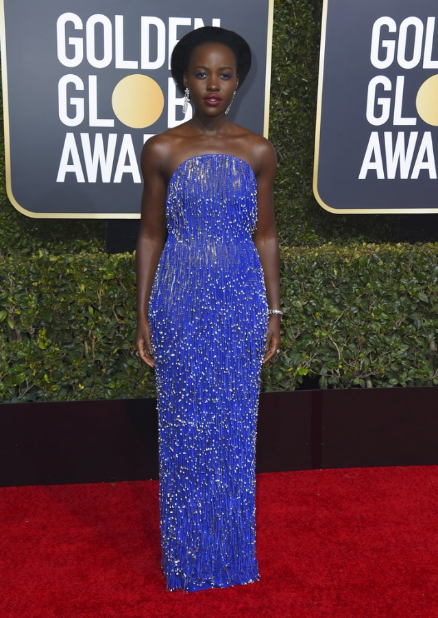 Lupita Nyong'o makes a splash on the red carpet in a Vernon Francois.